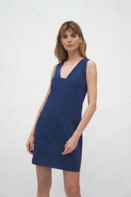 Kobaltowa sukienka z głębokim dekoltem - S173