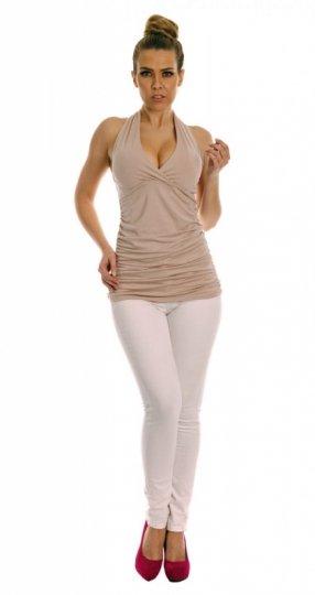 2dc3814ec7 S006 8536 bluzka beżowy - Bluzki bez rękawów - Bluzki damskie ...