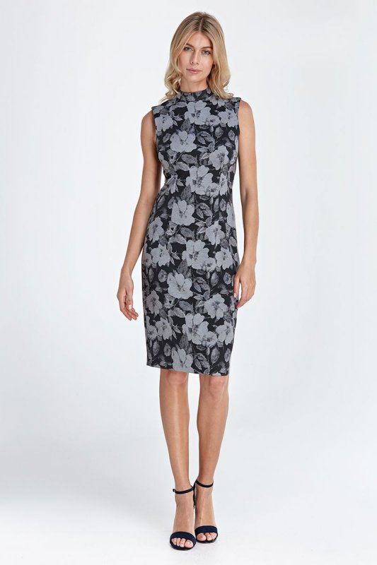 Dzianinowa sukienka - kwiaty - CS06