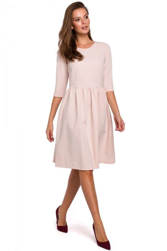 K010 Sukienka rozkloszowana - beżowa