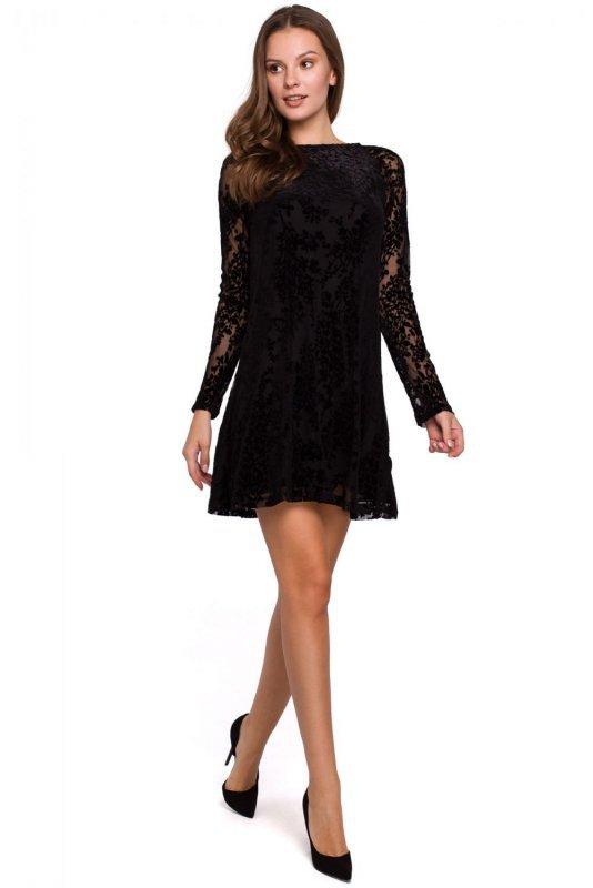 K023 Sukienka koronkowa rozkloszowana - czarna