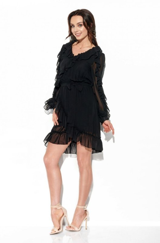 Szyfonowa sukienka z jedwabiem i falbankami kolor L326 czarny
