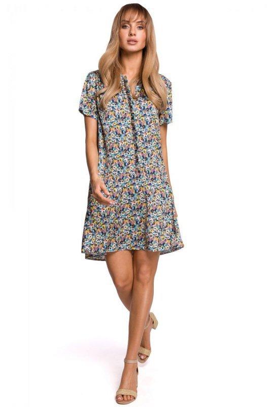 M505 Zwiewna sukienka w kwiaty z falbaną - model 2