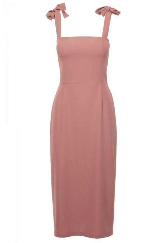 K046 Sukienka midi z wiązanymi ramiączkami - różana