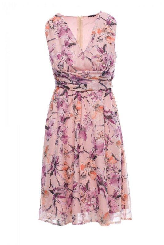 S225 Sukienka szyfonowa bez rękawów i z dekoltem - model 2