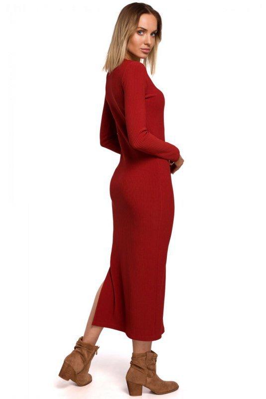 M544 Sukienka maxi z rozcięciem na nogę - ceglasta