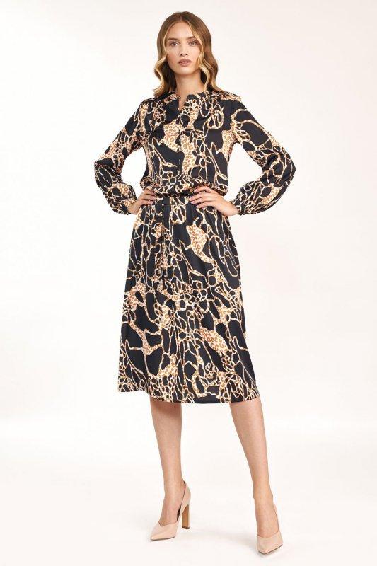 Sukienka midi we wzór  - S189