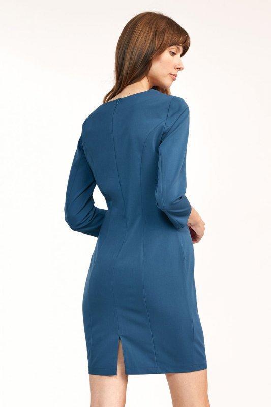 Dopasowana lazurowa sukienka mini  - S185