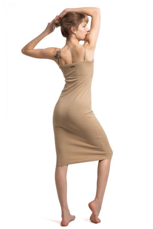 LA062 Sukienka na cienkich ramiączkach - cappuccino