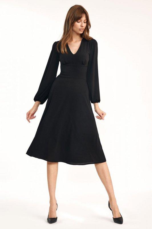 Klasyczna czarna sukienka midi - S194