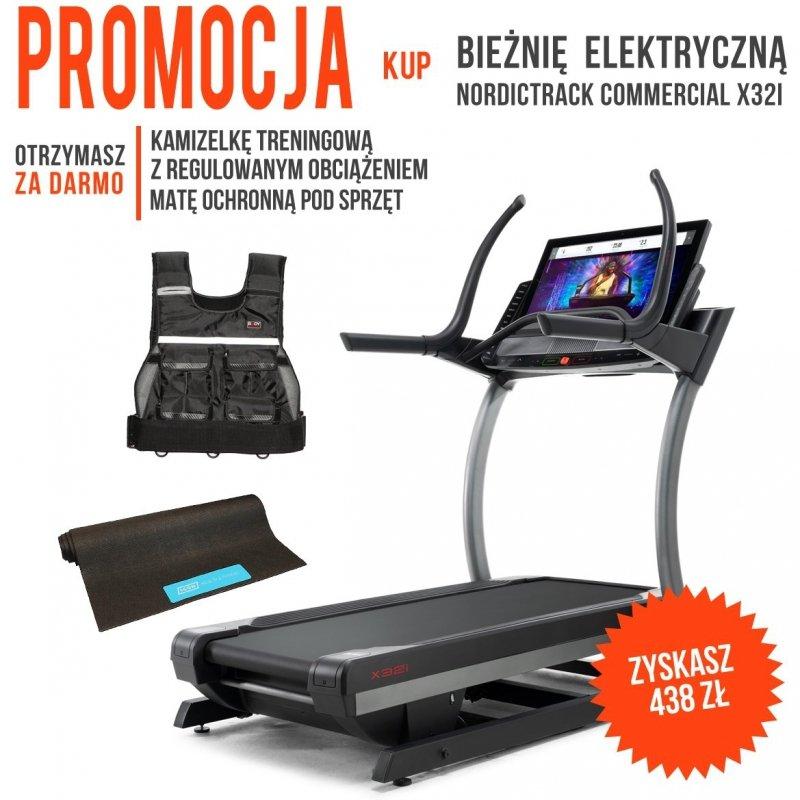 Bieżnia Elektryczna NordicTrack Commercial X32i + Mata ochronna + Kamizelka z obciążeniem + Roczne członkostwo iFit