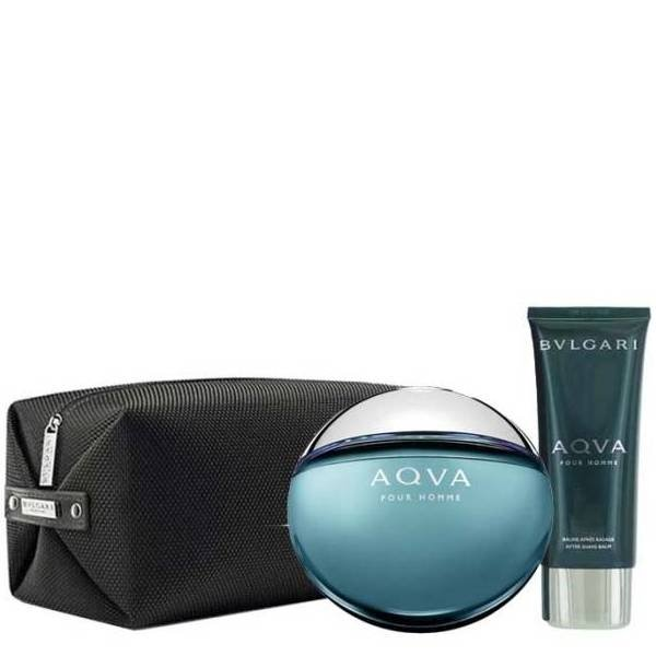Bvlgari Aqua Pour Homme Set - Eau de Toilette 100 ml + After Shave Balm 100 ml + Pouch