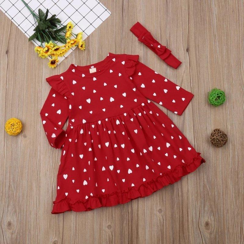 Czerwona sukienka z opaską serduszka