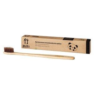 ZUZII Bambusowa szczoteczka do zębów dla dorosłych, brązowa