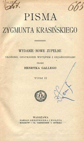 Krasiński Zygmunt - Pisma. Wydanie nowe zupełne ... t.2.