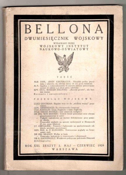 Bellona. Dwumiesięcznik wojskowy wydawany przez Wojskowy Instytut Naukowo-Oświatowy. R.XXI, z. 3: V-VI 1939