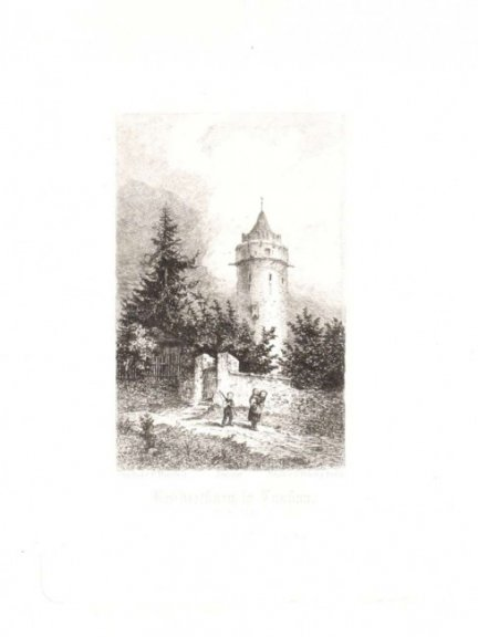 [LUBAŃ]. Bruderthurm in Lauban. (Schlesien), Akwaforta form. 9,9x6,3 na ark. 38,2x28,4 cm.