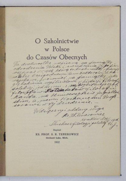 Tenerowicz S. - O szkolnictwie w Polsce do czasów obecnych