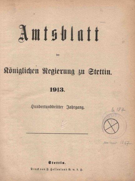 Amtsblatt der Königlichen Regierung zu Stettin. 1913