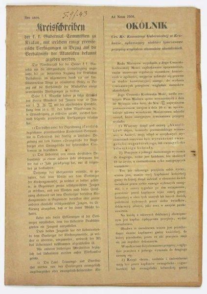 OKÓLNIK Ces. Kr. Kommissyi Gubernialnej w Krakowie, ogłaszający niektóre tymczasowe przepisy względem stosunków akatolickich [...]. Kraków, 4 II 1849.