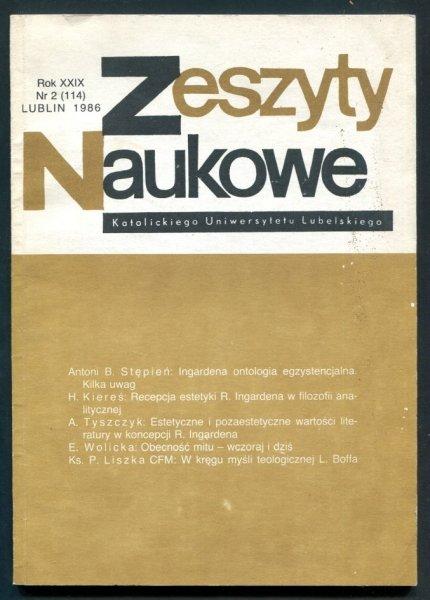 Zeszyty Naukowe Katolickiego Uniwersytetu Lubelskiego. R. 29, nr 2 (114): 1986.