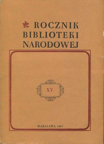 Rocznik Biblioteni Narodowej. Nr 15: 1979