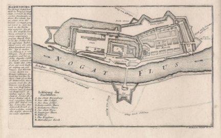[MALBORK]. Marienburg. Des Konigl. Polnischen theils in Preussen Haupt-Stadt [...]. Miedzioryt z akwafortą form. 15,7x23,7 cm.