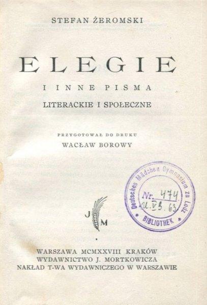 Żeromski Stefan - Elegie i inne pisma literackie i społeczne.