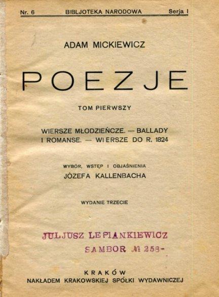 Mickiewicz Adam - Poezje.