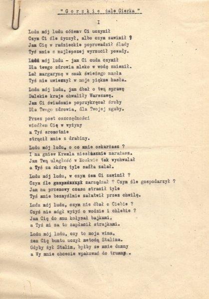 [PRL]. Zbiór 5 wierszy w maszynopisie z ostatniego okresu PRL (lata 70. XX w. i 1980). Karty form. ca 21x29,5 cm.