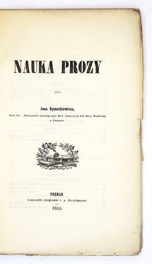 RYMARKIEWICZ Jan - Nauka prozy.