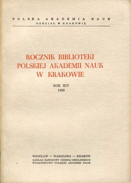 Rocznik Biblioteki PAN w Krakowie. R. 14: 1968