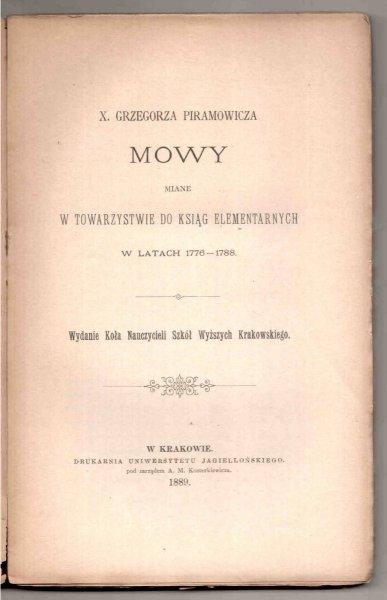 Piramowicz Grzegorz - Mowy miane w Towarzystwie do Ksiąg Elementarnych w latach 1776-1788
