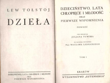 Tołstoj Lew - Dzieciństwo, lata chłopięce i młodość oraz Pierwsze wspomnienia. Powieść. T.1-2 (w 1 wol.)