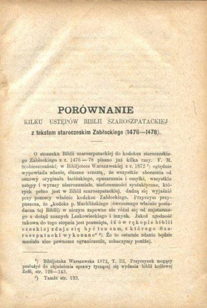 Malinowski Lucjan - Porównanie kilku ustępów Biblii Szaroszpatackiej z tekstem staroczeskim Zabłockiego (1476-1478)