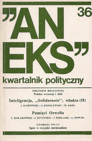 Aneks - kwartalnik polityczny. Nr 36.