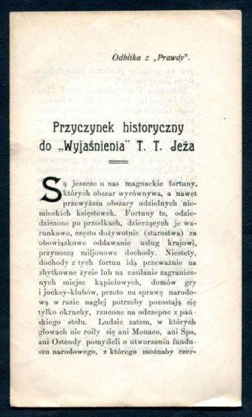Gierszyński Henryk - Przyczynek historyczny do Wyjaśnienia T.T.Jeża