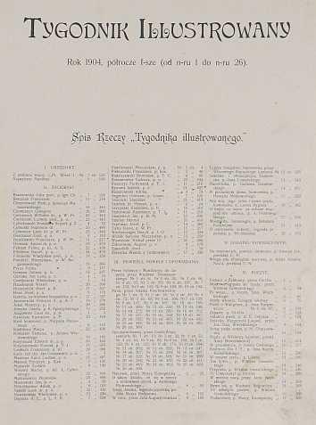 [Tygodnik Ilustrowany]. Tygodnik Illustrowany. Rok 1904, półrocze I, nr 1-26