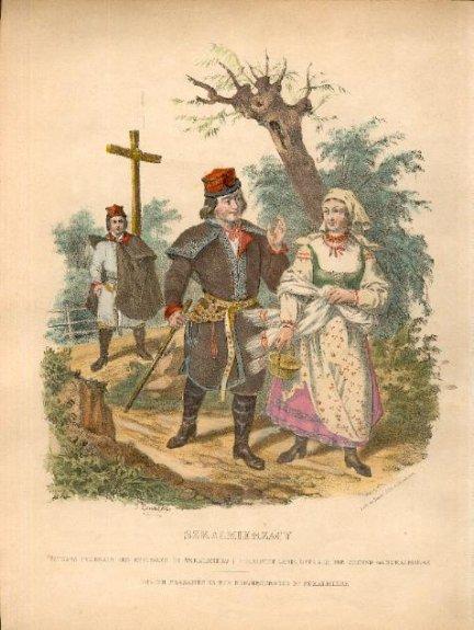 [STROJE polskie - Szkalmierzacy]. Plansza z albumu Leona Zienkowicza Les costumes du peuple polonais (Paryż 1841). Litografia kolorowana form. ca 20x18 na ark. 29,5x23 cm.