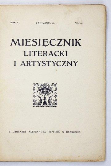MIESIĘCZNIK Literacki i Artystyczny. Pismo poświęcone literaturze i sztuce.