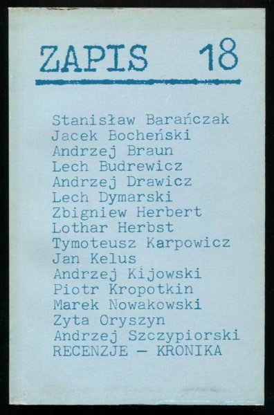 Zapis: poezja, proza, eseje, kronika. [R. 5], nr 18: IV 1981.
