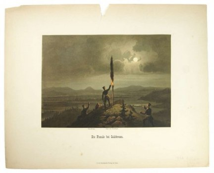 [SZCZAWNO-ZDRÓJ - sygnalizacja świetlna]. Die Fanale bei Salzbrunn. Litografia barwna form. 17,5x24,4 cm zamontowana na ark. 31,3x38,8 cm.