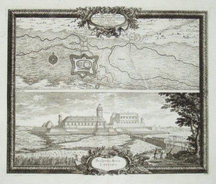 ŁOWICZ. Ichonographia operum quibus S.R.M. Sueciae Louitzium [...]. Prospectus Arcis Lovitzii.