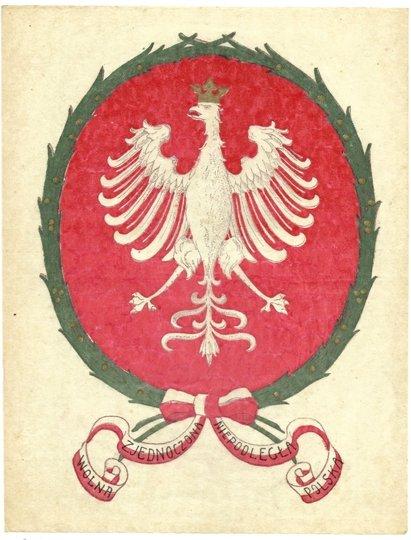 [Plakietka okienna] Wolna Zjednoczona Niepodległa Polska.