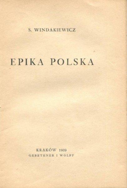Windakiewicz S. Epika polska
