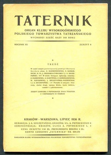 Taternik. Organ Klubu Wysokogórskiego Polskiego Towarzystwa Tatrzańskiego. R. 20: 1936, nr 6