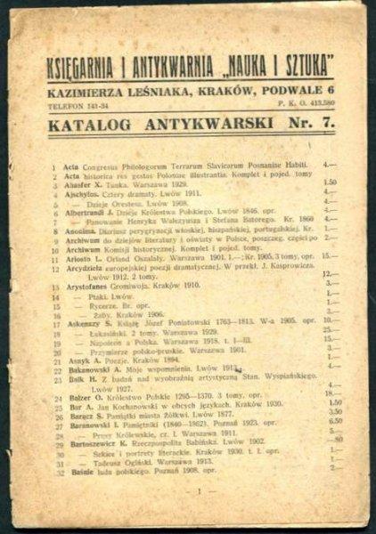 Księgarnia i Antykwarnia Nauka i Sztuka Kazimierza Leśniaka - katalog antykwarski nr 7