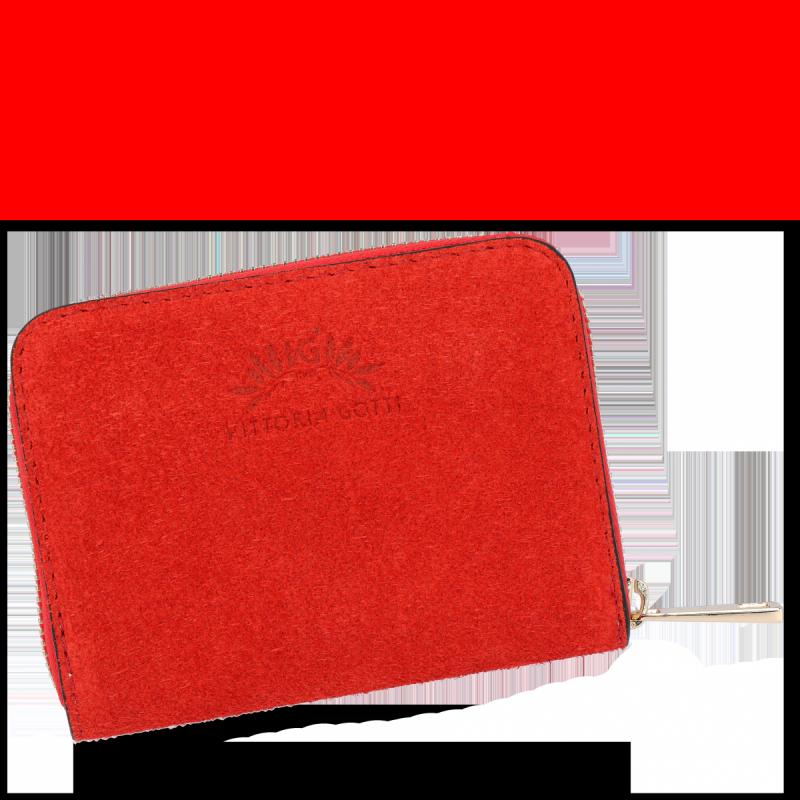 Portfel Skórzany VITTORIA GOTTI Made in Italy Czerwony