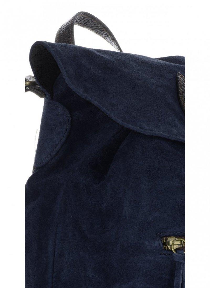 Plecak Skórzany VITTORIA GOTTI Made in Italy Granatowa