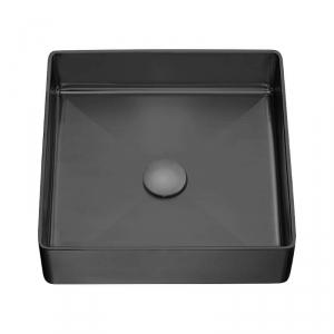 LAVEO – umywalka POLLA stalowa nablatowa z korkiem klik-klak CZARNA